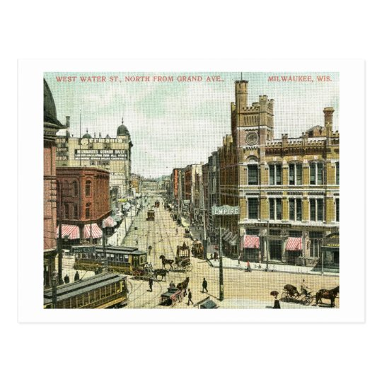 West Water St., Milwaukee, Wisconsin 1908 Vintage Postcard