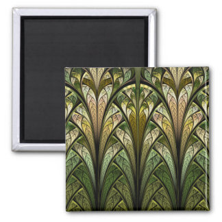 West Wind Green Abstract Stained Glass Square Magnet