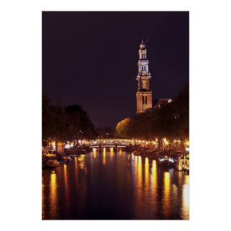 Westerkerk by night in Amsterdam the Netherlands Poster