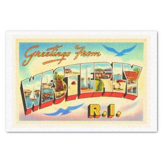 Westerly Rhode Island RI Vintage Travel Souvenir Tissue Paper