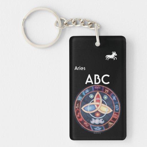 Western Astrology Wheel Sign Customizable Rectangular Acrylic Keychains