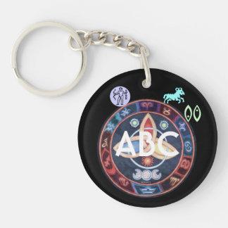 Western Astrology Wheel Sign Customizable Single-Sided Round Acrylic Keychain