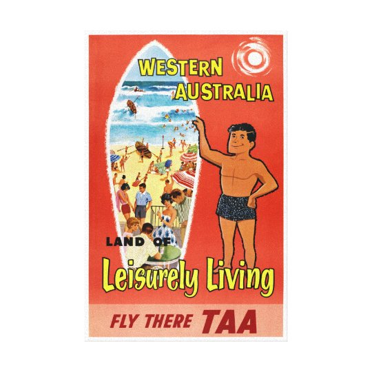 Western Australia Restored Vintage Travel Poster Canvas Print