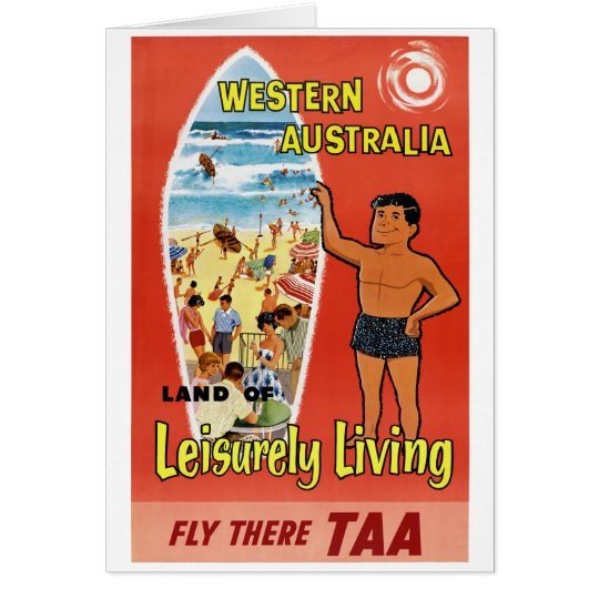 Western Australia Restored Vintage Travel Poster Card