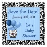 Western Baby Shower Save the Date Blue 5.25x5.25 Square Paper Invitation Card