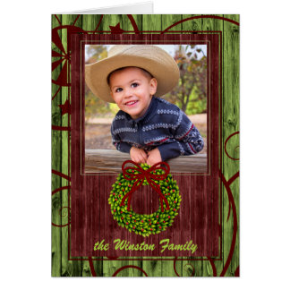 Western Barn Wood Christmas Themed Photo Card