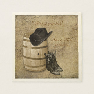 Western Barrel and Boots Wedding Napkins