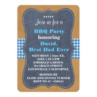 Western BEST DAD EVER Denim BBQ PARTY Custom Card