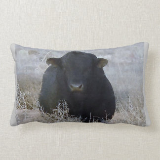 Western Black Bull in Winter Scene Lumbar Pillow