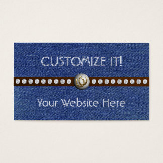 Western Bling Customizable Denim Biz Cards