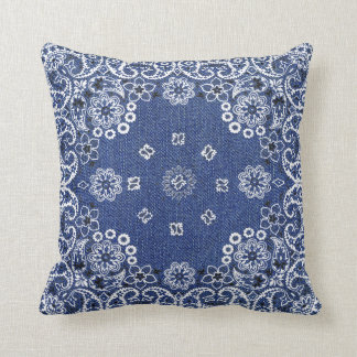 Western Blue Bandana Throw Pillows