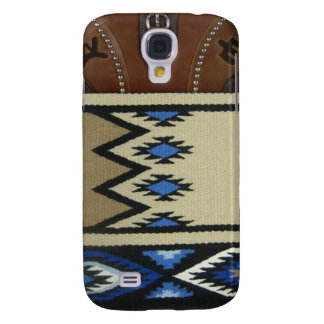 "Western ""Blue Horse Blanket & Leather"" IPhone 3"
