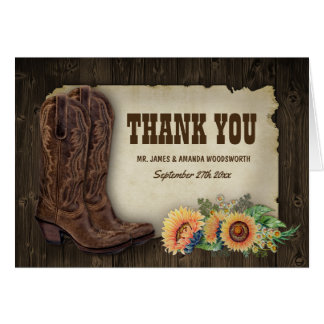 Western Boots Sunflower Wedding Thank You Cards