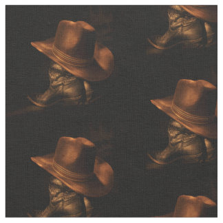 Western Bronze Cowboy Hat and Boots Print Fabric