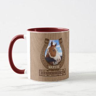 Western Brown Barnwood Theme Horse Photo Memorial Mug