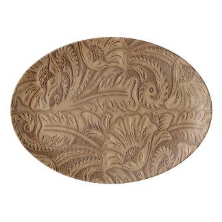 Western Brown Tooled Leather print Porcelain Serving Platter