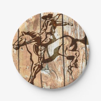 Western bucking bronco wooden cowboy paper plates 7 inch paper plate