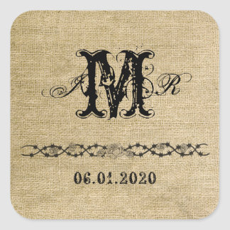 Western Burlap Monogram Sticker