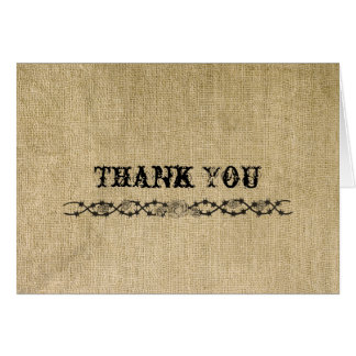Western Burlap Thank You card