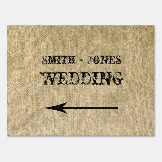 Western Burlap Wedding Direction Sign