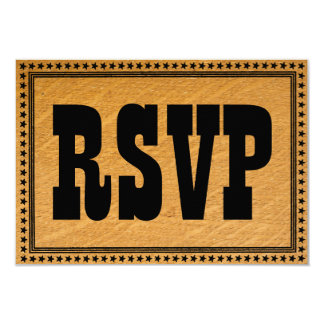 Western Burned Wood Wedding RSVP Card