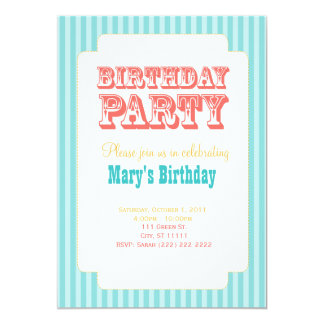 Western Carnival - Birthday Party - Blue & Coral Card