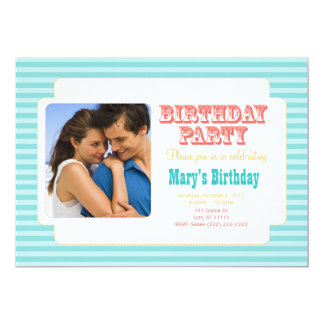 """Western Carnival - Personal Photo BDay Party BC 5"""" X 7"""" Invitation Card"""