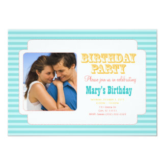 Western Carnival - Personal Photo BDay Party BY 5x7 Paper Invitation Card
