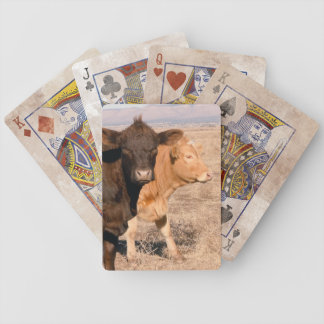 Western Cattle Cows Walking Together Rural Scene Bicycle Playing Cards