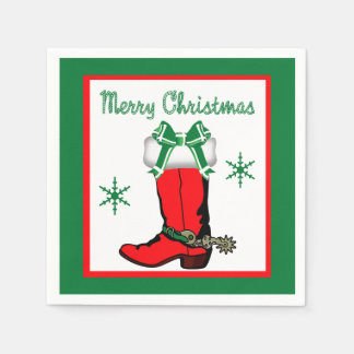 Western Christmas Cowboy Boot Merry Christmas Paper Napkins
