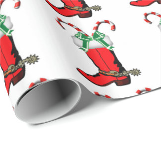 Western Christmas Cowboy Boot With Candy Canes Wrapping Paper