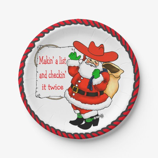 Western Christmas Cowboy Santa With List 7 Inch Paper Plate