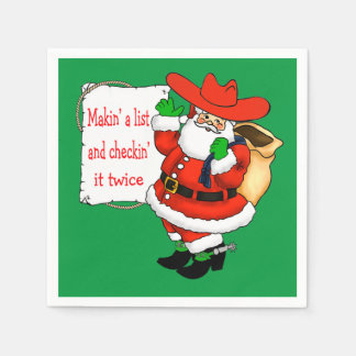 Western Christmas Cowboy Santa With List Paper Napkins