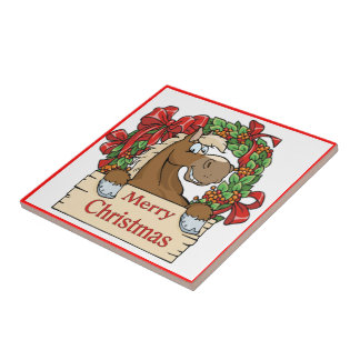 Western Christmas Horse With Wreath Sign Tile