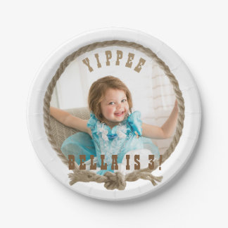 Western circle rope frame design 7 inch paper plate