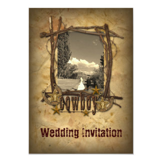 western country cowboy wedding  photo invitation