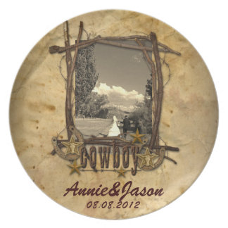 western country cowboy wedding photoPlate Dinner Plates