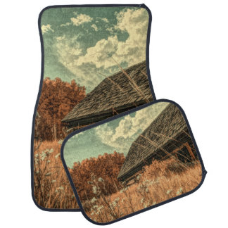 western country field wildflower farm Old Barn Car Mat