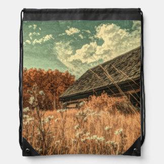 western country field wildflower farm Old Barn Drawstring Bag