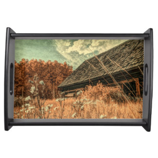 western country field wildflower farm Old Barn Serving Tray