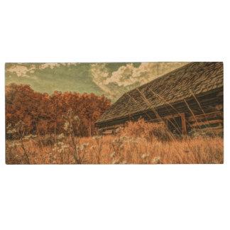 western country field wildflower farm Old Barn Wood USB 2.0 Flash Drive