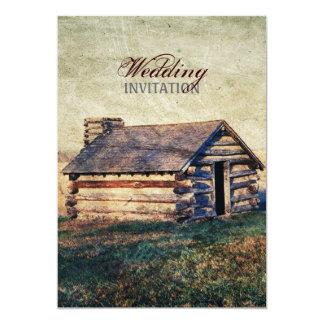 "western country mountain cabin wedding 5"" x 7"" invitation card"