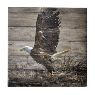 Western Country Patriotic USA American Bald Eagle Tile