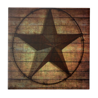 Western Country Primitive Barn Wood Texas Star Tile