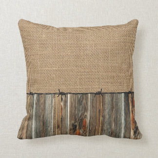 Western Country Rusti Burlap Barn Wood Barbed Wire Throw Pillow