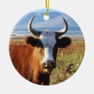 Western Cow  and Baby Calf Cattle Two-sided Round Ceramic Ornament