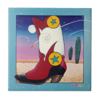 Western Cowboy Boot Ceramic Tile