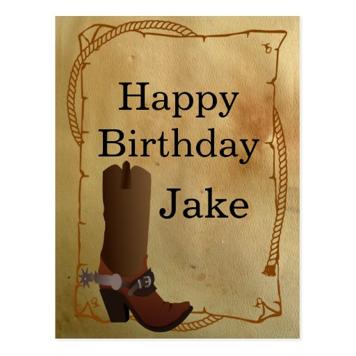 Western Cowboy Boot Happy Birthday Post Card