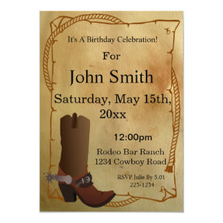 Western Cowboy Boot Invitation
