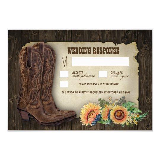 Western Cowboy Boots Sunflower Wedding RSVP Cards